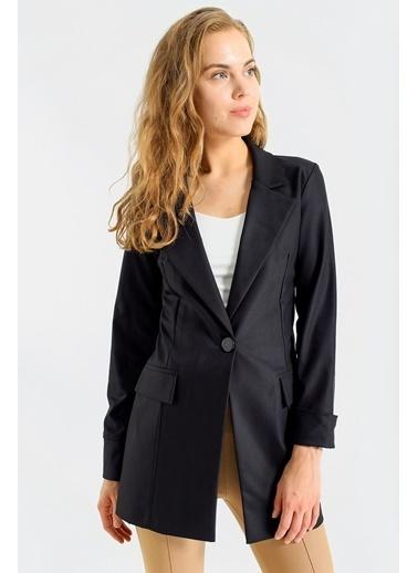 Jument Kadın Kolu Katlanabilir Uzun Kol Boyfriend Şık Ofis Blazer Uzun Ceket- Kahve Siyah